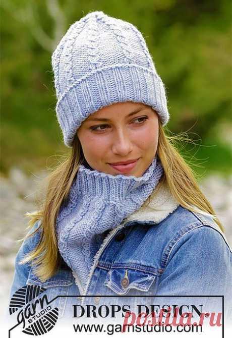 Комплект шапка и снуд спицами Сахарный Твист от Дропс   Вязание Шапок - Модные и Новые Модели