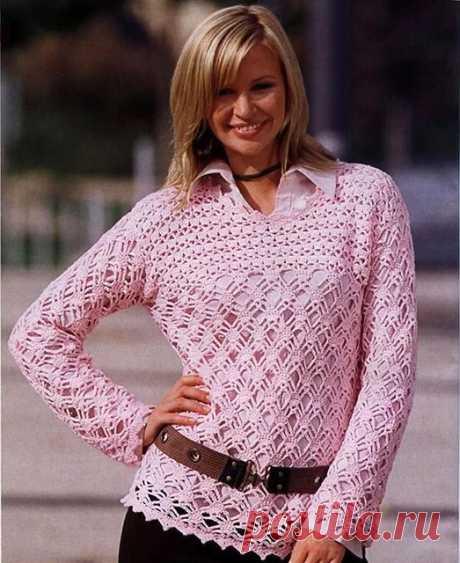 Ажурный пуловер Розовое очарование из хлопка крючком – 3 схемы узоров с описанием вязания