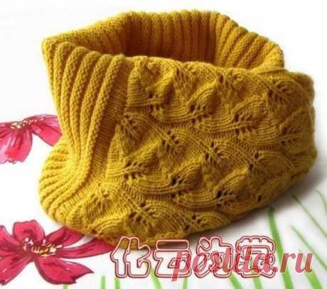 Вяжем шарф-хомут спицами с очень красивым узором — DIYIdeas