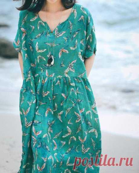 Loose Flower dress Linen long Dress summer dress prom   Etsy