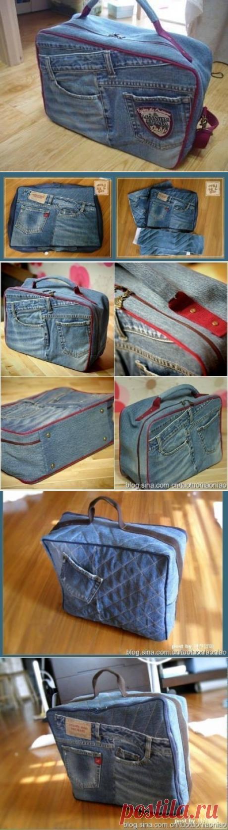 Чемоданчик-сумка из старых джинсов.