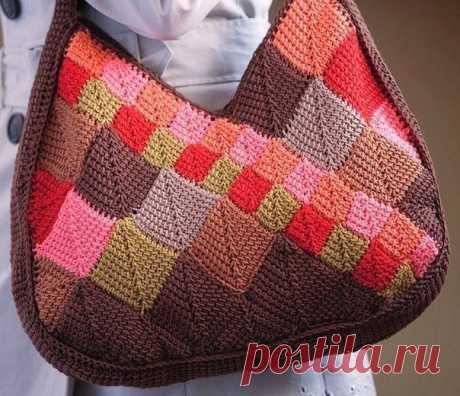Стильная сумка тунисским вязанием