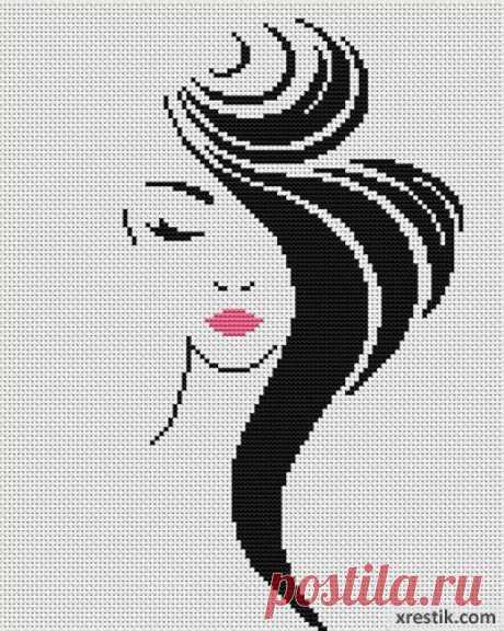 Стильная девушка №4  Размер в крестиках:... / Рукоделие / Схемы для вышивки монохромных девушек / Pinme.ru