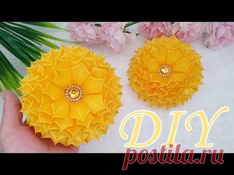 Пышные цветы из атласа 2,5см / канзаши мк / flowers from ribbons diy