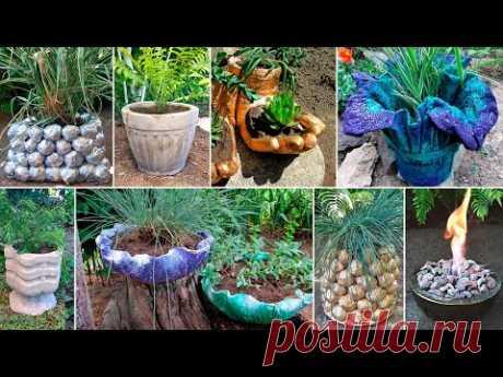 15 идей поделок для сада и дачи из песка и цемента - YouTube