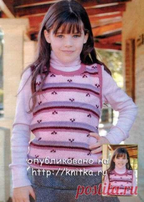 Розовый жилет для девочки, Вязание для детей
