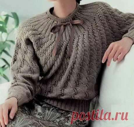 Элегантный пуловер на круглой кокетке