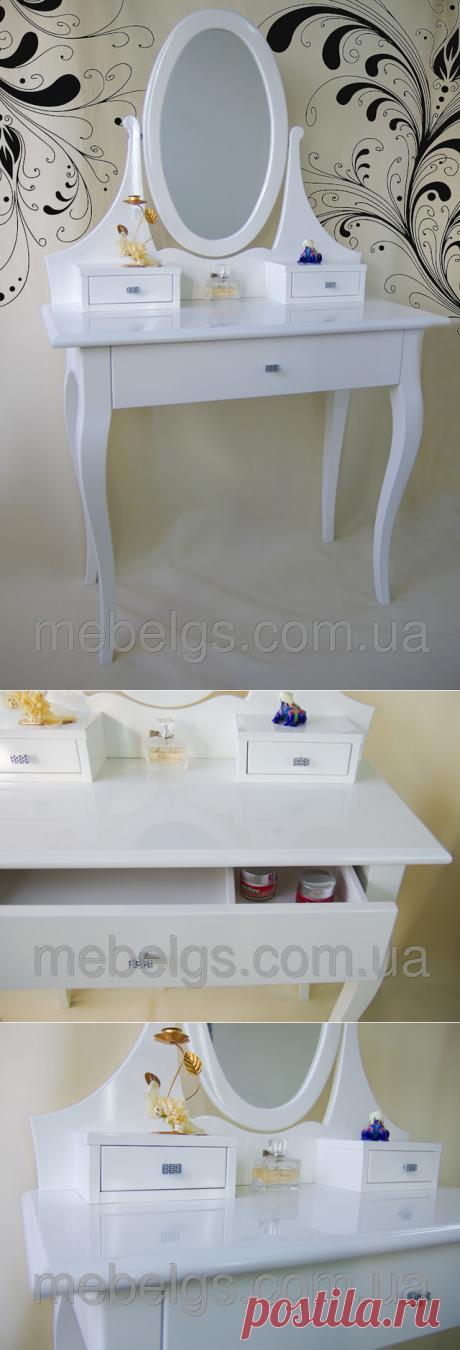 """Туалетный столик белый с овальным зеркалом: продажа, цена в Харьковской области. туалетные столики и консоли от """"MebelGS - мебель из натурального дерева от производителя"""" - 195629151"""