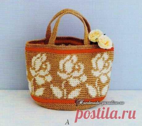 Вязаная хозяйственная сумочка