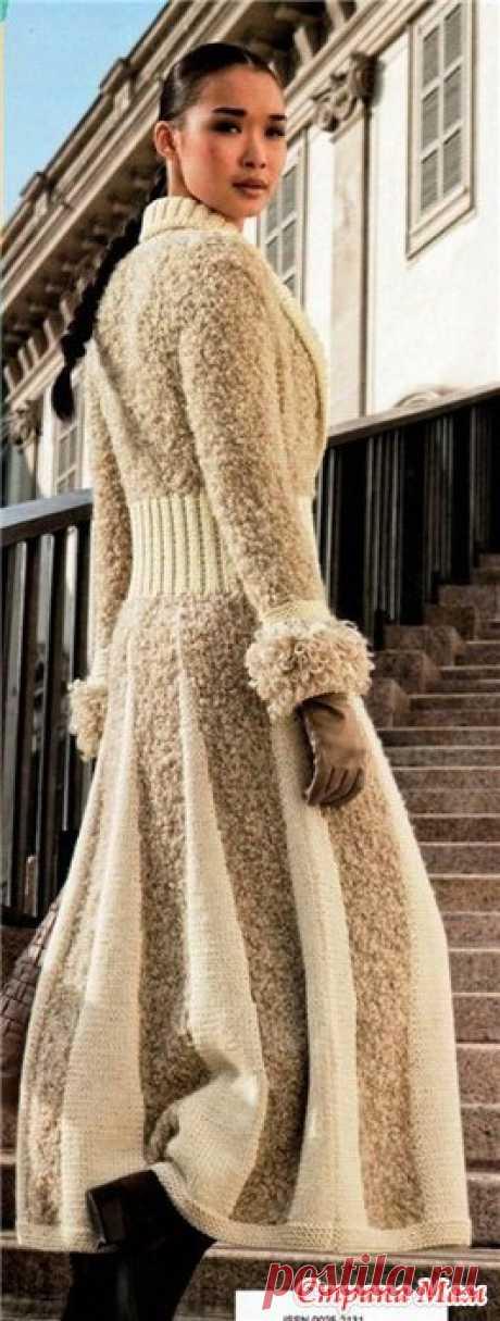 Стильное длинное пальто спицами - Вязание спицами - Страна Мам