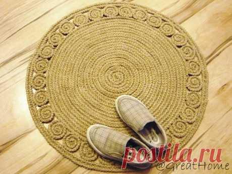 Коврики крючком из джута  Жаккардовый узор. Красивая изнанка. Пряжа для ковров. Из чего вязать?