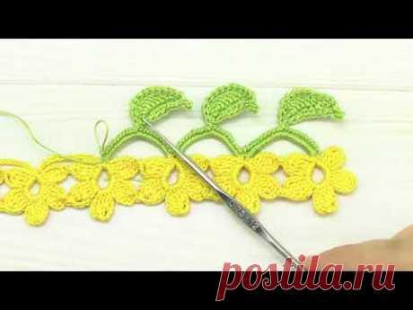 Вязание крючком ЦВЕТОЧНАЯ КАЙМА тесьма из цветком мастер-класс Crochet flowers ribbon lace