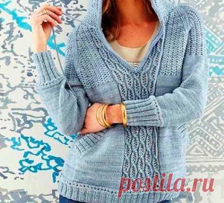 La labor de punto del pulóver con la capucha, el modelo 24, Vogue ss 2014 | Vyazalnyy la novela | Yandeks Dzen