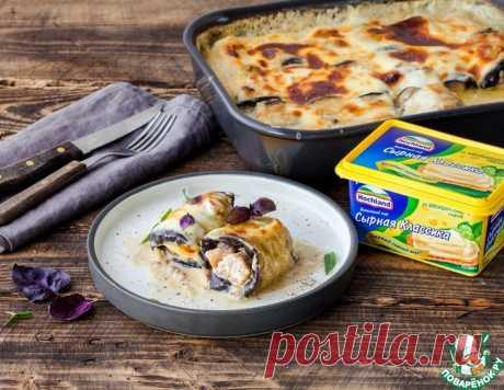 Рулетики из баклажанов с мясом в сырной заливке – кулинарный рецепт
