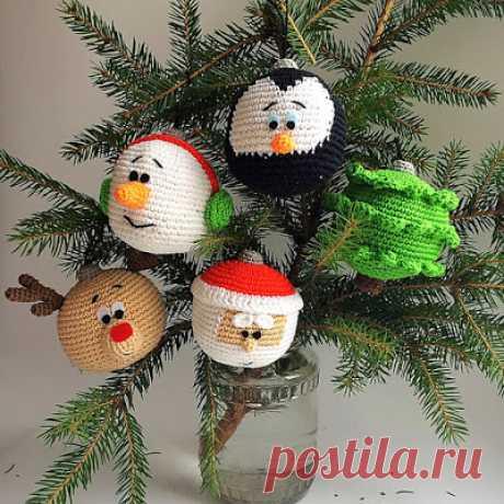 1000 схем амигуруми на русском: Вязаные шарики на елку