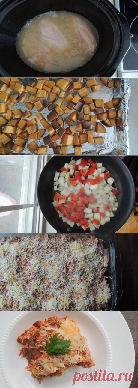 Вкусная, сытная и полезная овощная запеканка с курицей и бататом