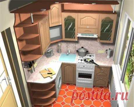 Una pequeña cocina. El diseño del interior de la pequeña cocina por las manos. La foto