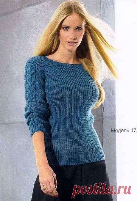 Пуловер в резинку