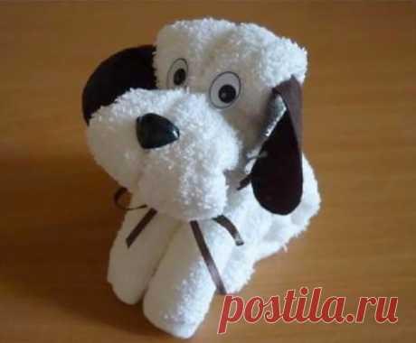 Собачка из полотенца - чисто символический подарок к Новому году