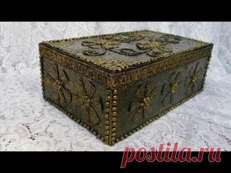 Декор картонной  коробки.Декор коробки своими руками.