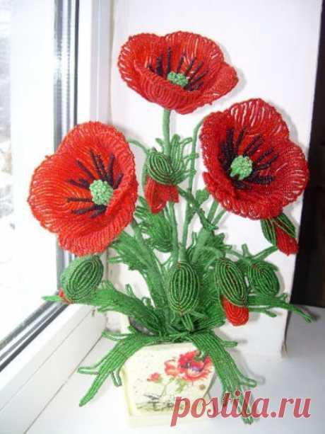 Цветы из бисера. Идеи.