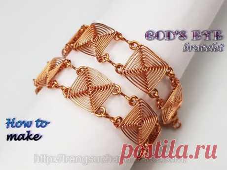"""Pulseira de corrente quadrada inspirada """"ofício do olho de Deus"""" - jóias de fio de cobre 495"""