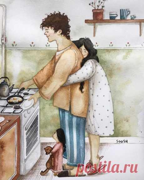 Добродушные иллюстрации о домашнем уюте и любви