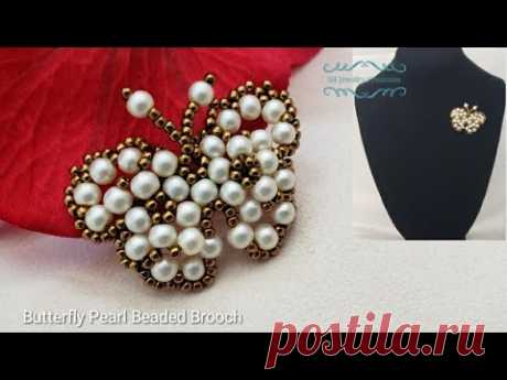 How to make a Butterfly Pearl Beaded Brooch. Beading tutorial. Beads Jewelry Making.