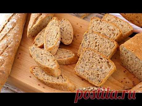 🍞Хлеб из 100% цельнозерновой пшеничной муки с семенами в духовке