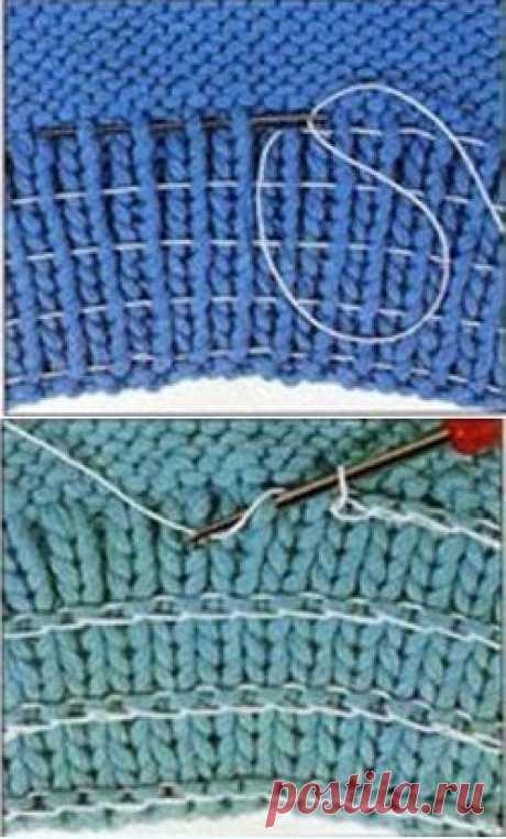 Восстановление формы края вязаного полотна. Несколько способов.