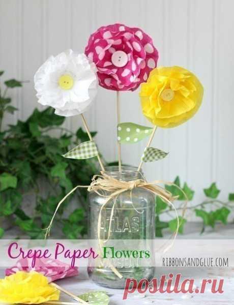 Бумажные цветочки — Поделки с детьми