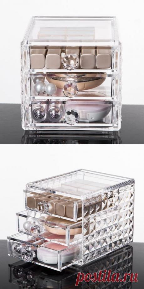 """Акриловый органайзер для косметики """"Diamond"""" на 3 секции, 12 х 15,8 х 11,5 см — купить по цене от 1390 руб."""