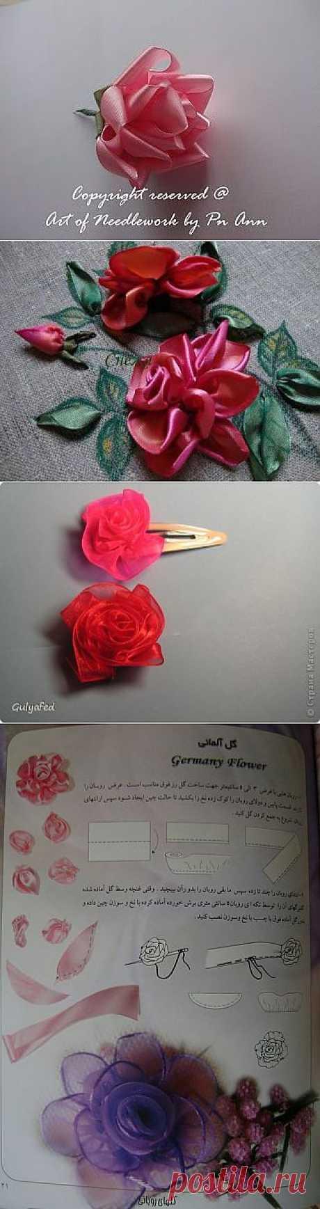 мастер-класс вышивки лентой(роза)ч.4