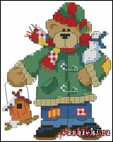 Новогодний Мишка » Вышивка, бесплатные схемы вышивки крестом