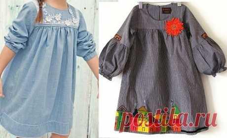El patrón del vestido infantil a la edad de 1 año a 14 años (la Costura y el corte)