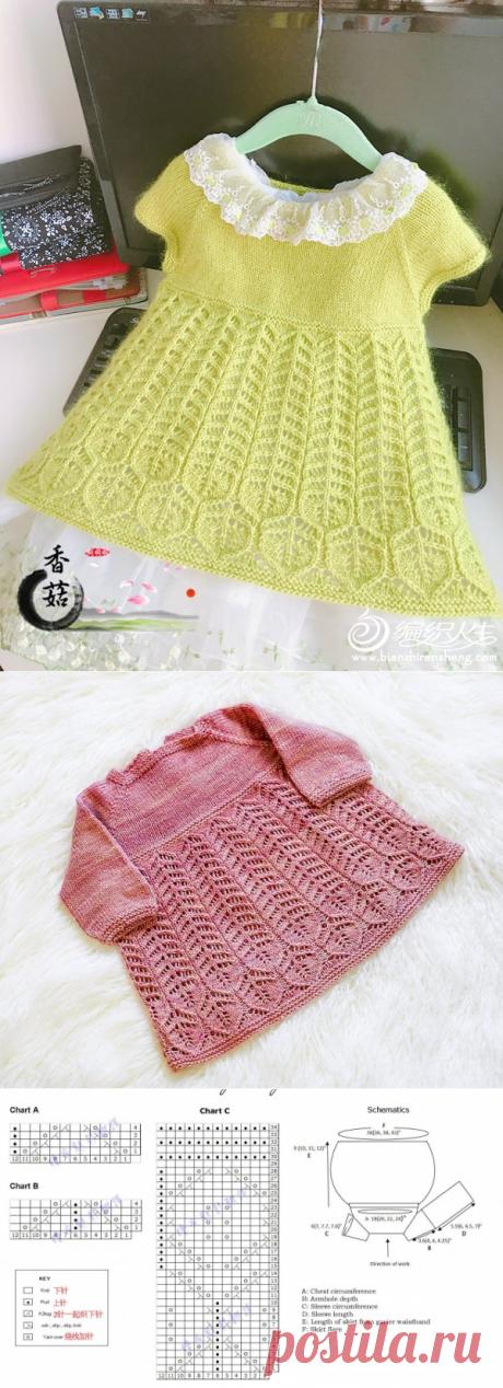 Вязание спицами. Платье для девочки.