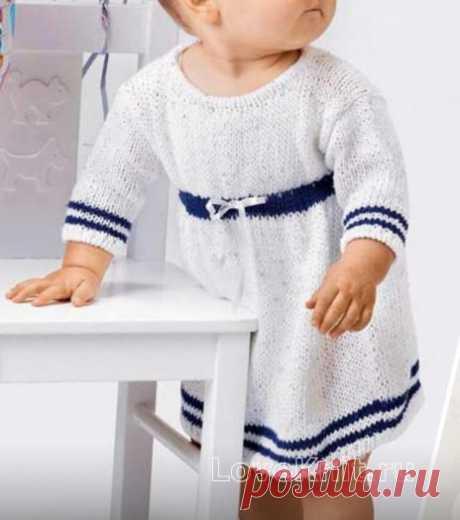 Платье с синей полоской для девочки до 12 месяцев схема » Люблю Вязать