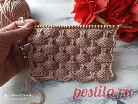 Оригинальный, простой узор спицами для вязания. | Вяжем дома с Татьяной | Яндекс Дзен