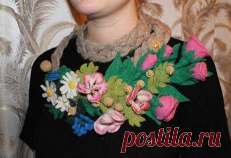 шарф-аксессуар, сухое валяние