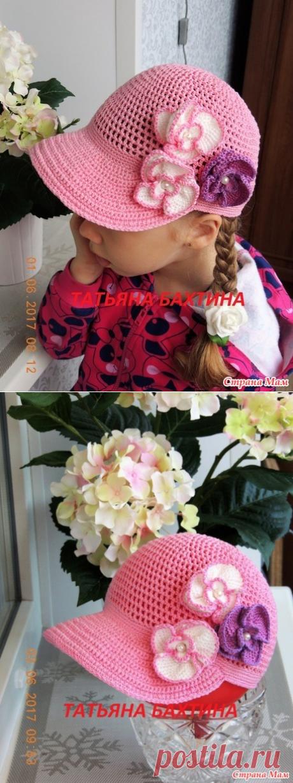 """La gorra de béisbol """"Орхидея"""" por el gancho para la muchacha - la Labor de punto para los niños - el País de las Mamás"""