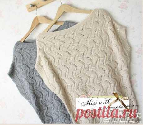 Звонкие ручейки - азиатский пуловер спицами..