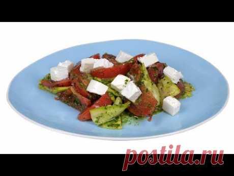 """Салат из кабачков под зеленой заправкой. Без майонеза. Из подборки """"Мои рецепты для похудения"""""""