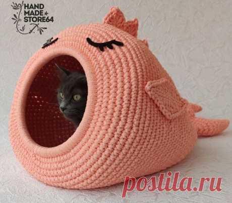 Удивительные вязаные домики лежанки для кота крючком - идеи для вязания и вдохновения | Anna Gri Crochet | Яндекс Дзен