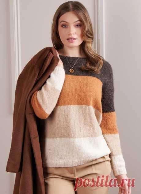 Пуловер спицами Serena