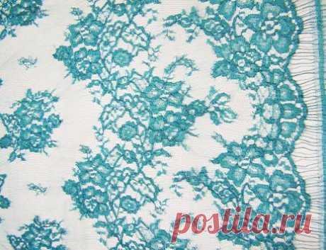 Кружево Шантильи с люрексом Франция (нефритовый) - купить ткань онлайн через интернет-магазин ВСЕ ТКАНИ