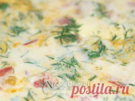 Омлет с помидорами, луком и укропом — рецепт с фото