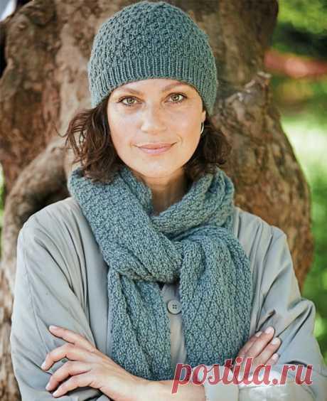 Вязаный комплект: шапка и шарф спицами | Моё хобби.Вязание для женщин. | Яндекс Дзен