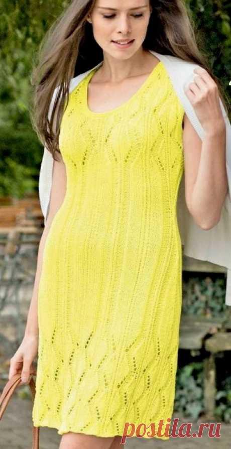 Желтое платье спицами схема. Платье спицами с ажурным лифом |