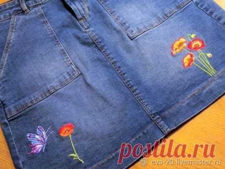 Мастер-класс смотреть онлайн: Делаем машинную вышивку на джинсовой юбке | Журнал Ярмарки Мастеров
