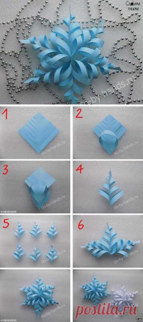 Снежинка из шести квадратиков бумаги, каждый размером 9х9 см | Kerst